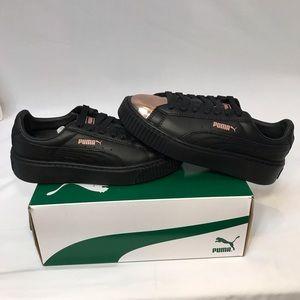 Puma Basket Platform Metallic Black Rose Gold Shoe